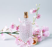 Perfume and pink flower Royalty Free Stock Images