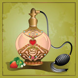 Perfume pump bottle with strawberry Stock Photography
