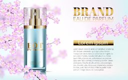 Perfume realistic style in a glass bottle on pink background with sakura flowers. Great advertising poster for promoting royalty free illustration