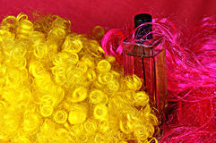 Perfume in red and yellow 33 Stock Photo