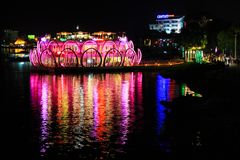 Hue Perfume River Riverbank At Night, Vietnam. The Perfume River is a river that crosses the city of Hue Royalty Free Stock Photos