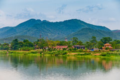 The Perfume River, Vietnam. The Perfume River of Vietnam, with mountains in the background Stock Image