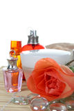 Perfume and rose Stock Photography
