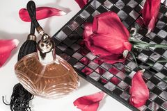 Perfume and rose Stock Photo