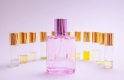 Perfume sampleson white background. Beautiful composition with perfume samples on light backgroundPerfume roller tester royalty free stock image