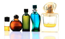 Perfume and scent bottles. Isolated on white background royalty free stock images