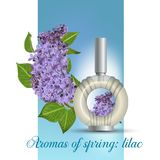 Perfume with a scent of lilac stock illustration