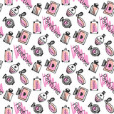 Perfume seamless pattern. Doodle sketch of perfume bottles in pink colors on white background. Vector Royalty Free Stock Images