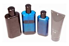 Perfume, shampoo, shave balm and shaving cream Stock Image