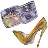 Perfume and shoe sketch glamour illustration in a watercolor style isolated element. Watercolour background set. Perfume and shoe sketch fashion glamour stock images