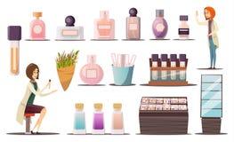 Perfume Shop Icon Set Stock Photography