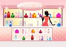 Perfume shop. Illustration of women in perfume shop Royalty Free Stock Photo