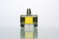 Perfume. Transparent bottle of perfume on a white background Stock Photo