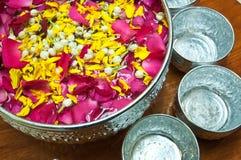 Perfume water mixes the petal Royalty Free Stock Photo