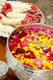 Perfume water mixes the petal. And Thai style garland Stock Image