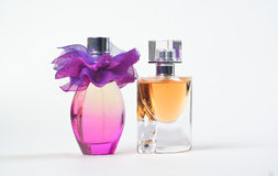 Perfume. Women's perfume in two bottles Royalty Free Stock Photo