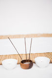 Perfumed candles and incense stem Royalty Free Stock Image