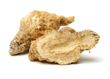 Perfumed ginseng and macae Maca. Isolated on white background stock images