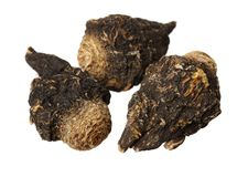 Perfumed ginseng and macae Maca. Isolated on white background royalty free stock photos