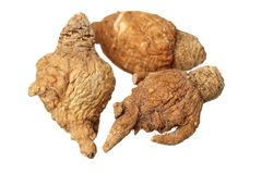 Perfumed ginseng and macae Maca. Isolated on a white background royalty free stock photography