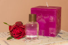 Perfumed Rose Water. Purple saint on retro background. Perfumed Rose Water Royalty Free Stock Image
