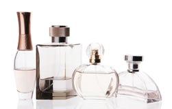 Perfumery. Perfume bottle closeup on a white background Stock Photos