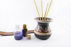 Perfumery and fragrances. Incense and fragrances for stoves, on a white background Stock Image