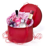 Perfumery gift set in a red box Royalty Free Stock Photos