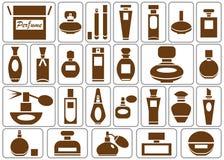 Perfumery icons on white Stock Photography