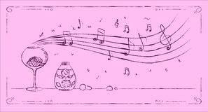 Perfumery melody drawing Stock Photography