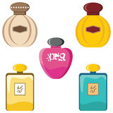 Perfumery set. Female eau de toilette in different bottles Royalty Free Stock Photography