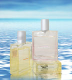 Perfumes. Deliciously Attractive Eau De Toilette display on surface of ocean with reflection Royalty Free Stock Image