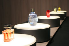 Perfumes bottles. Milan - Woman fashion week 2006 Royalty Free Stock Images