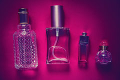 Perfumes in bottles of different shapes Royalty Free Stock Photography