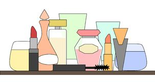 Perfumes and cosmetic items arranged on a shelf, simple design stock illustration