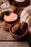 Perfumes de madeira para a aromaterapia do tempo de inverno Cones do pinho, velas, garrafas de óleo essencial, vista superior Os  fotos de stock royalty free