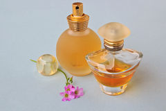 Perfumes and flowers Stock Photo