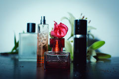 Perfumes with a flowers Stock Photos