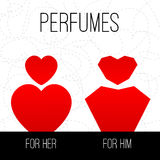 Perfumes for him and for her. Stock Image