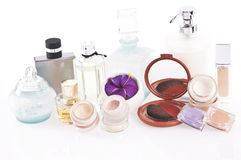 Perfumes and makeup. Products for skin care and personal care on a white background stock photo