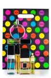 Perfumes set and paper bag Stock Photo