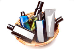 Perfums and deodrant bottles Royalty Free Stock Photo