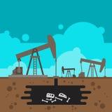Perfuração do poço de petróleo com o fóssil subterrâneo Fotos de Stock