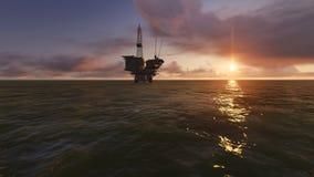 Perfuração para a exploração do petróleo a pouca distância do mar Fotografia de Stock