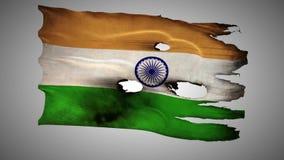 Perfurado indiano, queimado, alfa de ondulação do laço da bandeira do grunge video estoque