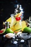 Perfurador alcoólico do pisco do cocktail com aguardente, xarope, abacaxi e fotografia de stock royalty free