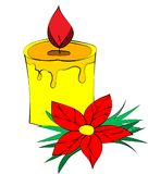 Perfurador do ` s do ano novo e uma vela ardente foto de stock