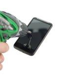 Perfurando o telefone Imagem de Stock Royalty Free