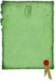 Pergamena celtica con l'arpa Fotografia Stock