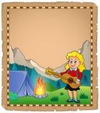 Pergamena con il chitarrista della ragazza nel campo 2 Fotografie Stock
